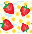 Red strawberry and flower vector