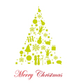Silhouette tree christmas isolated over white back vector