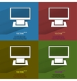 Color set computer flat modern web button with vector