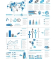 Infographic demographics web elements blue vector