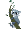 Funny cartoon raccoon vector