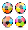 Colorful football balls set vector