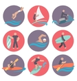Water sports icons set flat vector