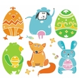 Easter cute set of animals vector