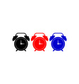 Alarm clock black red blue vector