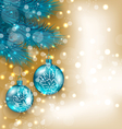 New year decoration with hanging balls on fir vector