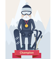 Senior man winter sports champion concept vector