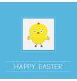 Easter chicken dash line frame blue background vector