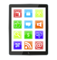 Tablet with icons vector