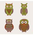 Set of decorative cute owls vector