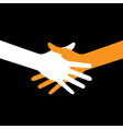 Colorful icon hand shake on black background vector