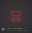 Bear toy outline symbol red on dark background vector