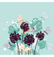 Green decorative background with butterflies vector