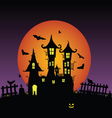 Sweet and beauty castle with bats vector