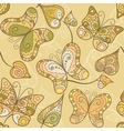 Seamless pattern with lace butterflies and leaves vector