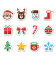 Christmas colorful icons set - santa present tre vector