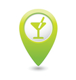 Cocktail icon green map pointer vector