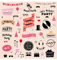 Set of party icons signs and symbols vector