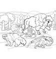 Mammals animals cartoon coloring page vector
