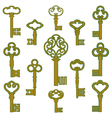 Antique bronze keys with patina decor vector