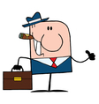 Cigar smoking thumbs up caucasian businessman vector