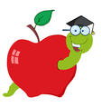 Worm in red apple with graduate cap vector