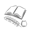 Sketch style quill and inkwell with book vector