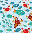 Seamless pattern with marine animals vector