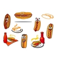 Hotdog cartoon characters and symbols vector