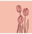 Abstract floral with tulips on pink background vector