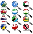 Set flags of world sovereign states magnifying vector