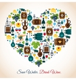 Wine heart icons vector