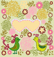 Pattern birds in love heart shape vector