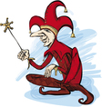 Court jester in red costume vector