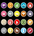 Sound icons with long shadow vector
