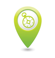 Compass icon on map pointer green vector