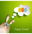 Cute easter background with rabbit vector