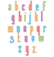 Outer echo typeset striped retro 70s style font vector