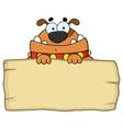 Cute dog over a blank wood sign vector