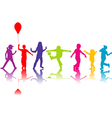 Colored silhouettes of children playing vector