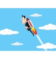 Businessman flying over the chart vector