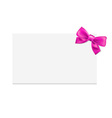 Blank gift tag with pink bow vector