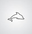 Dolphin outline symbol dark on white background vector