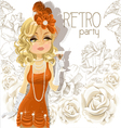 Retro party cute girl background vector