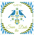 Vintage invitation bird postcard vector
