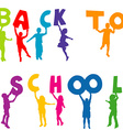 Children silhouettes holding letters with back to vector