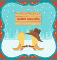 Cowboy christmas card with western boots and hat vector