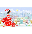 Fashion girl santa with purchase in a city vector