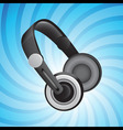 Headphones on blue vector
