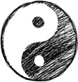 Doodle yin-yang symbol vector